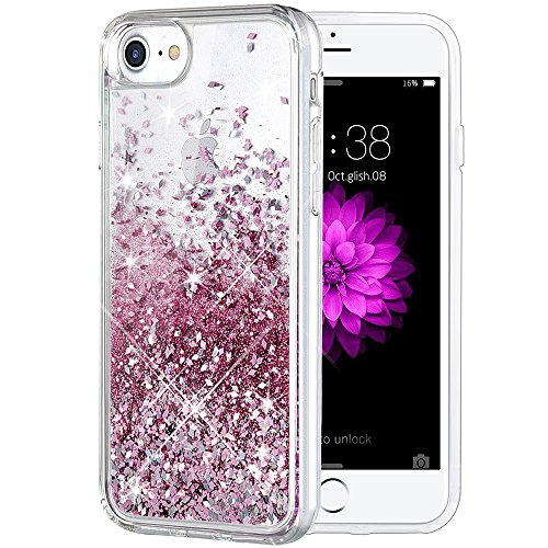 - iPhone 8 Case, Caka iPhone 8 Glitter Case [With Tempered Glass Screen Protector] Bling Flowing Floating Luxury Glitter Sparkle TPU Bumper Liquid Case for iPhone 7/8 (4.7 inch) - (Rose Gold)