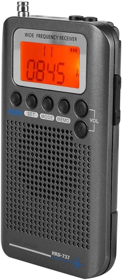 Diyeeni Air Band Radio Receptor Air FM Am CB SW VHF Banda de Mano Avión de Mano Radio Digital de Viaje con Antena extendida Pantalla LCD de frecuencia ...