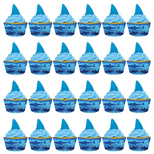 shark-splash-cupcake-pick-decorations-with-matching-baking-cup-wrapper-24-count