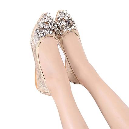 Kinrui Zapatos de Ballet Informales con Diamantes de imitación para Mujer