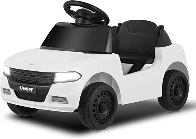 Uenjoy 6V Kids/Babies Ride On Car Battery Operated Electric Cars for Boys&Girls, with Storage Space, Headlight, Music& Horn, Water Cup Slot, Seat Belt, White.