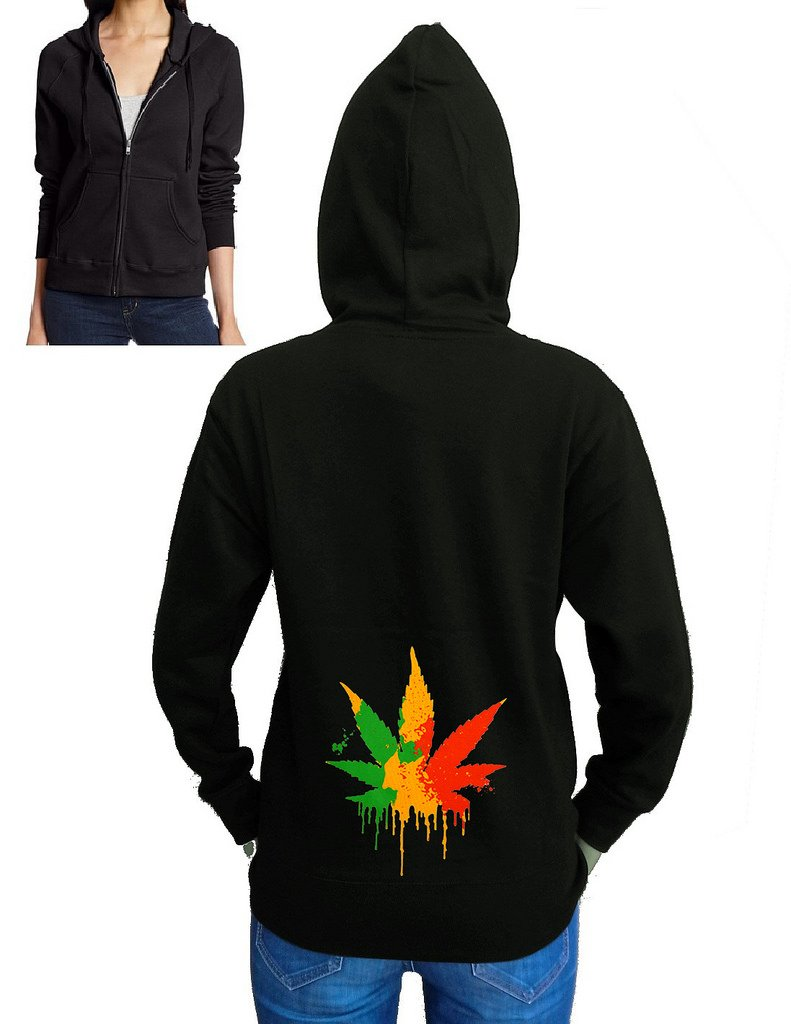 Junior's Dripping Rasta Weed Leaf Black Fleece Zipper Hoodie