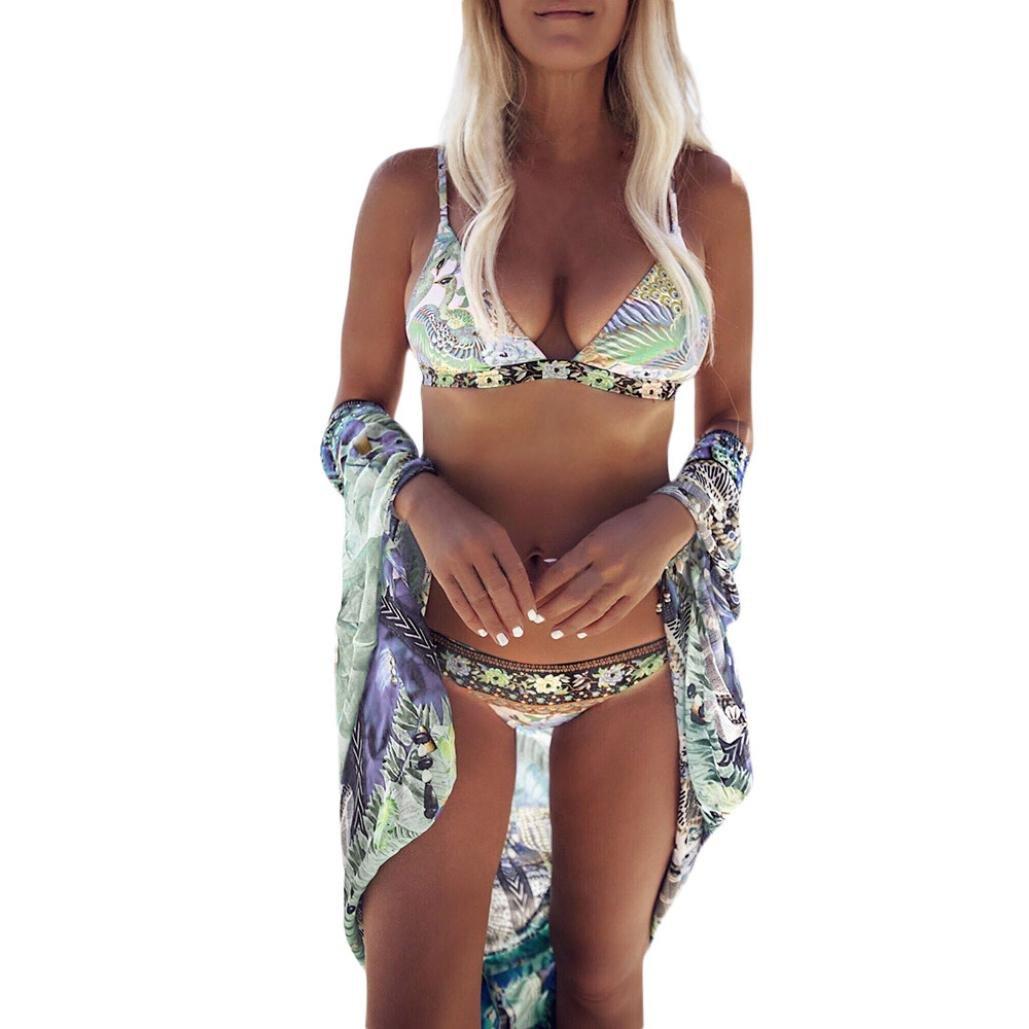 Damen Bikini, Hunpta Frauen Bademode Bikini Set Bandage Push-Up gepolsterter Badeanzug Bade Beachwear Multicolor)
