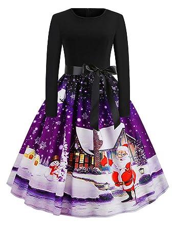 e48ecca2062 FeelinGirl Femme Robe Imprime Noel Robe Noel Or Robe de Noel Rouge Robes de Noel  Fille