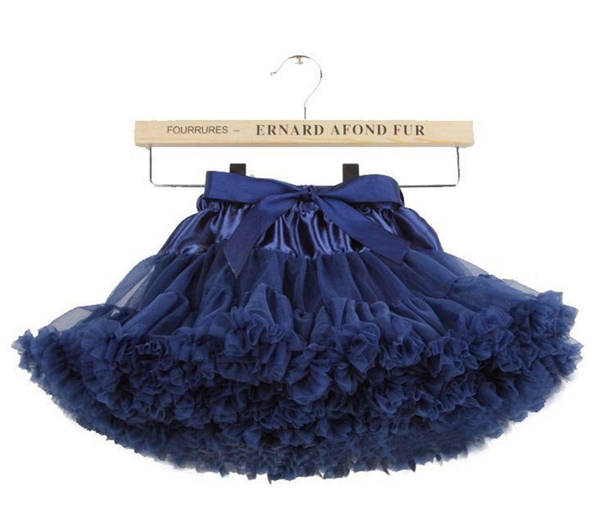 Baby Little Girls Ruffle Tiered Tulle Tutu Skirt Ballet Dance,5-7 Years/M,Navy by storeofbaby
