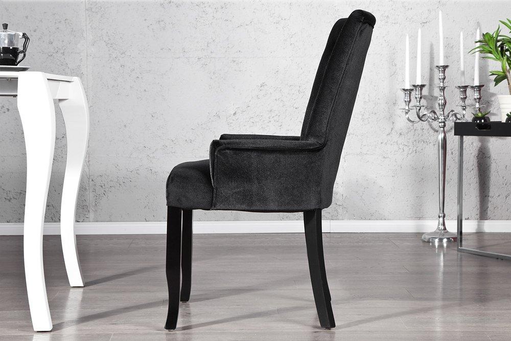Design Stuhl Barocco mit Armlehne Samtstoff schwarz mit ...