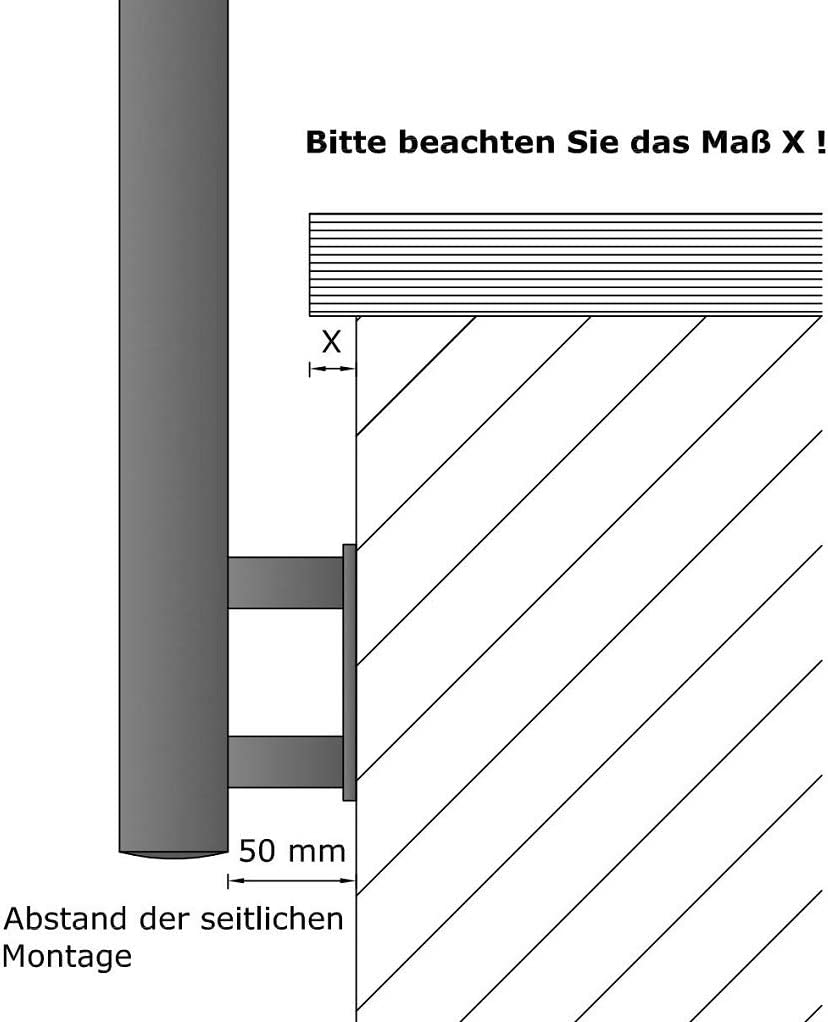 L/änge 160 cm mit 2 Pfosten und 2 Querstreben ohne Seitenabstand Variante Gel/änder f/ür seitliche Montage an Treppe Balkon und Terrasse mit waagerechte Querstreben bis 6m am St/ück
