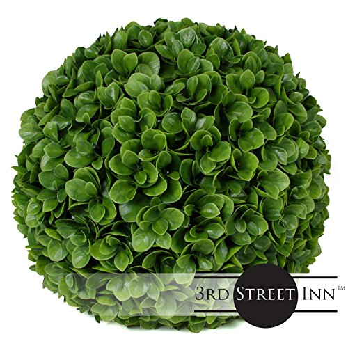 "3rd Street Inn Jasper Topiary Ball - 15"" Artificial Topiary Plant - Wedding Decor - Indoor/Outdoor Artificial Plant Ball - Topiary Tree Substitute (2, Jasper)"