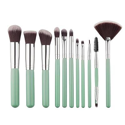 11PCS Sannysis Sets de brochas de maquillaje profesional color verde