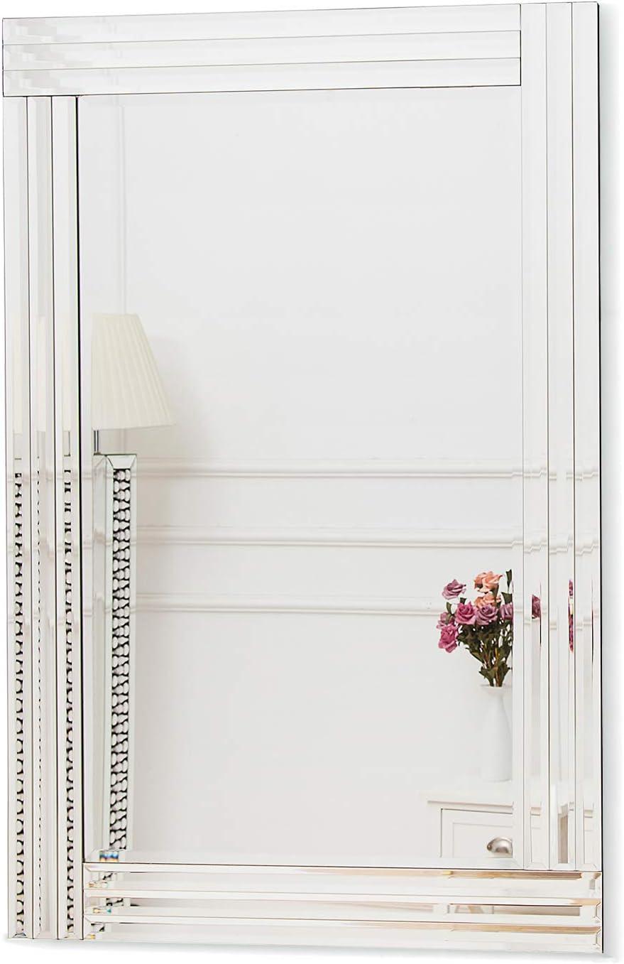 RICHTOP - Espejo de Pared con Borde Biselado, diseño Moderno, Color Plateado Veneciano, para Sala de Estar, 70 x 100 cm: Amazon.es: Hogar
