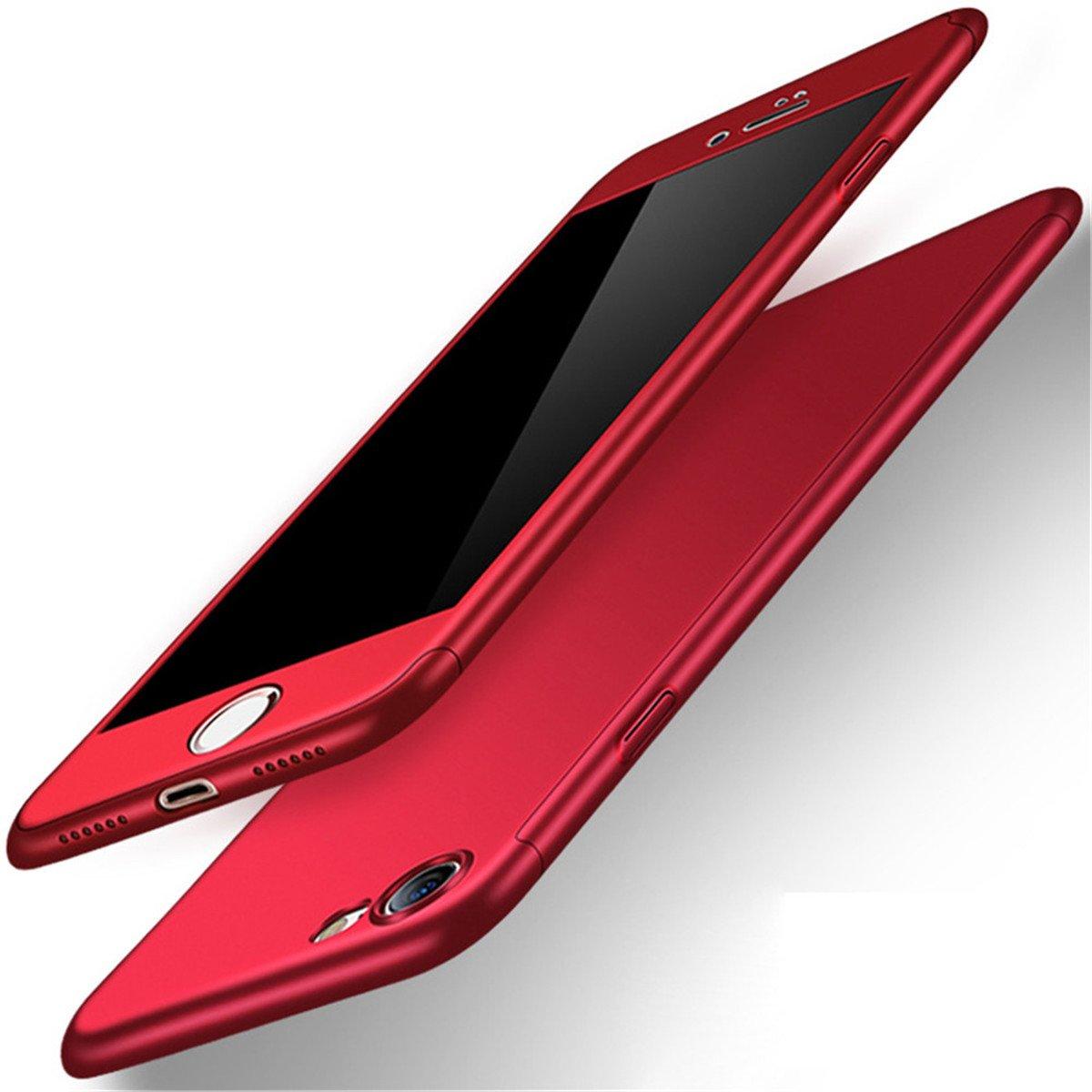 iPhone 8Coque de protection 3en 1360degrés fin Coque Adamark résistant aux chocs Coque protection intégrale Coque de protection + protection d'écran en verre trempé pour iPhone 8 Red