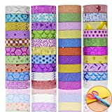 JUSLIN 40 Rolls Washi Tape, with DIY Scissors of Flower Lining, Perfect Handicrafts, for Decorating Scrapbook, Gift box, Album, etc.