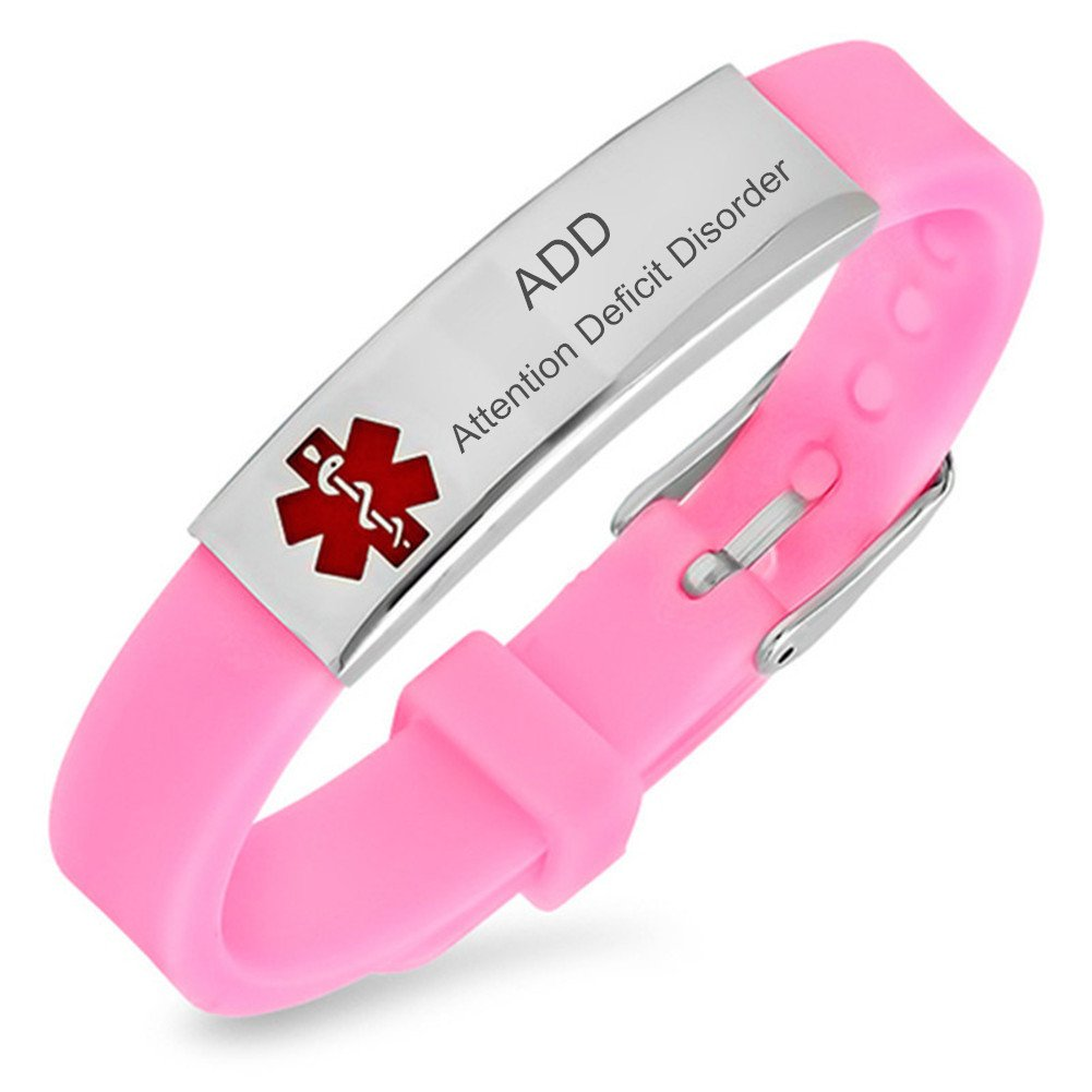 Sunling Custom Free Engraving Nameplate Medical Alert ADHD/ADD Awareness Identification Silicon Bracelet Kids,Son,Daughter ICE Emergency SOS Life Saver Wristband Bangle for Boys Girls Adults