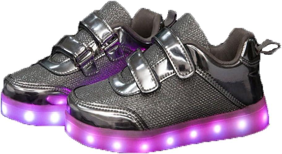 Kinder Jungen Mädchen LED Leuchtend Lichter USB Sneaker Turnschuhe Blinkende