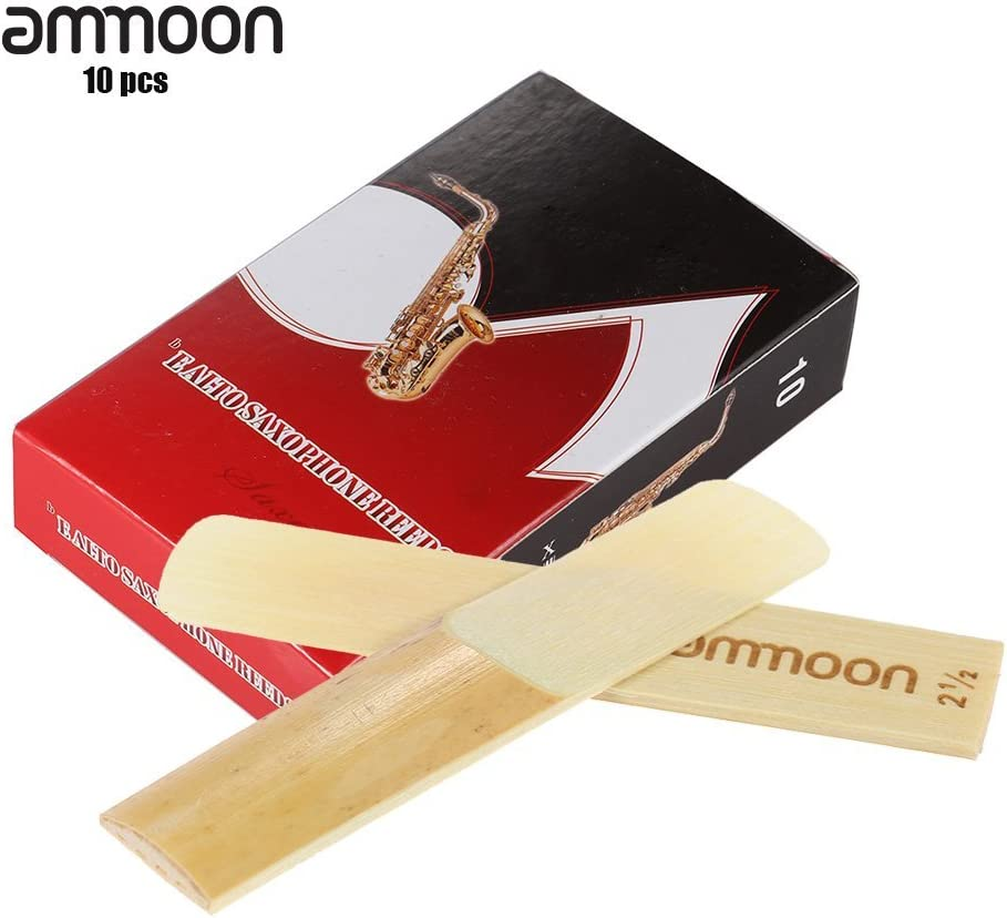 ammoon 10-Pack Bamboo Pieces 3.0 Strength Reeds for Eb Alto Sax Saxophone Accessories 2.5#