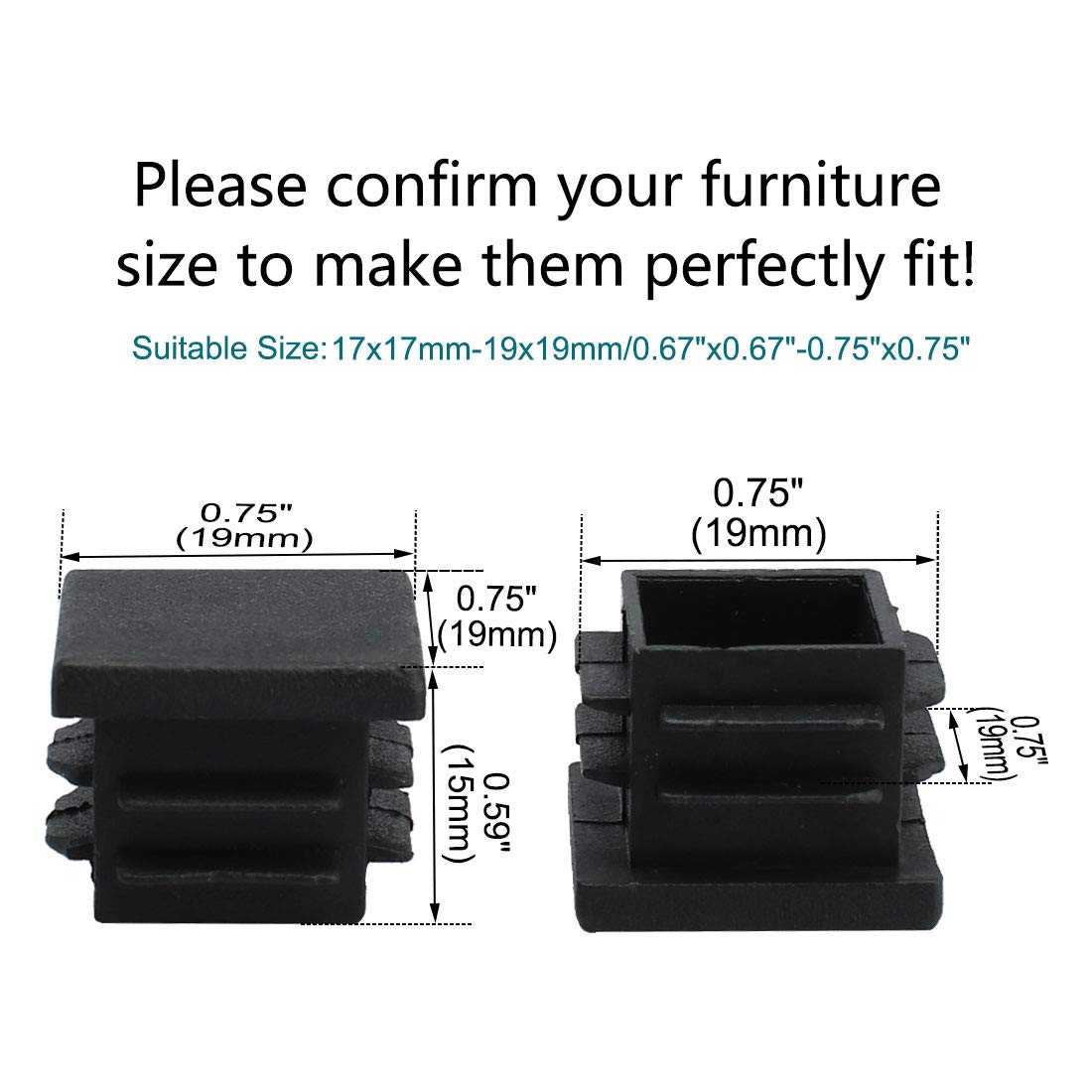 uxcell 70pcs 19 x 19mm Plastic Square Ribbed Tube Inserts End Covers Cap for 0.67 to 0.75 Inner Size Furniture Sofa Couch Feet Floor Protector