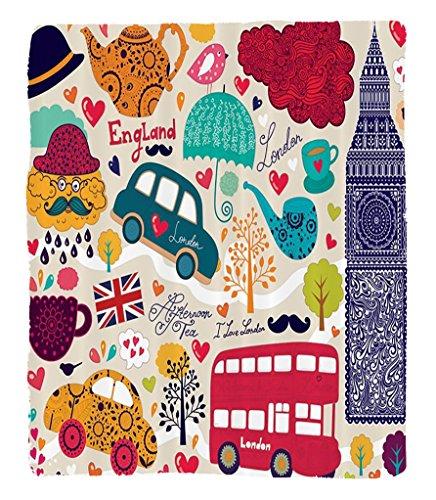 Chaoran 1 Fleece Blanket on Amazon Super Silky Soft All Season Super Plush London Decor Collection Colorfulet of Localymbols Painting Bus Big Ben Tea Pot Cup Umbrella Hat Retro Cab Image Fabric Orange by chaoran