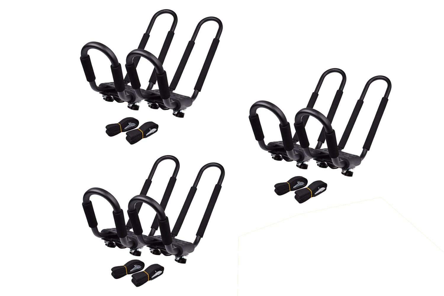 TMS 3 SETS ~ J-Bar Rack HD Kayak Carrier Canoe Boat Surf Ski Roof Top Mount Car SUV Crossbar
