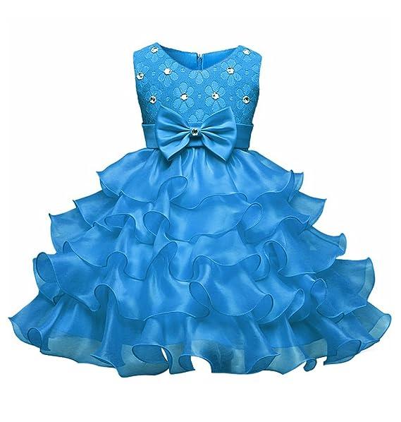 Bead Rundhals Nagel Hochzeit Festlich Party Kinder Ärmellose Bowknot Kleid Blumenmädchenkleider Sommer Mädchen Kleider Minetom XiPOkuTZ