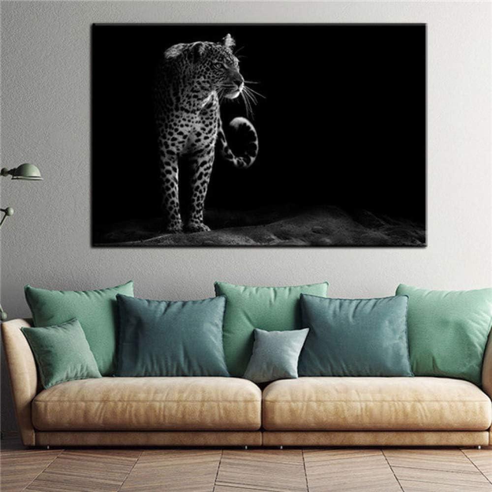 LiMengQi Cartel nórdico e Imagen de Pared Impresa decoración de Sala de Estar Cebra Blanca Negra Elefante león Leopardo Caballo Pared Arte Lienzo Pintura (sin Marco)