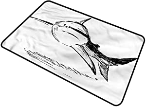 "shirlyhome Doormat Outdoor Shark for Front Door Doodle Art of Tropic Mammal Rectangle 30""x40"""
