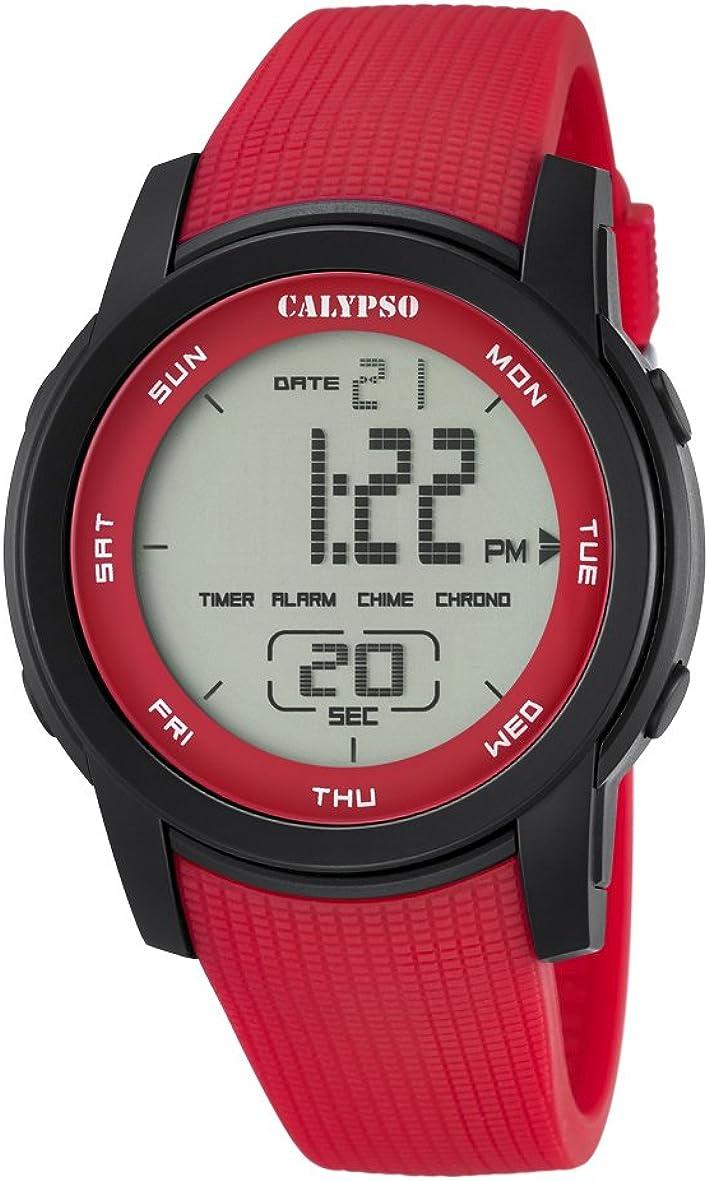 Calypso–Reloj Digital Unisex con LCD Pantalla Digital Dial y Correa de plástico de Color Rojo, k5698/3