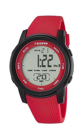 Calypso - Reloj Digital Unisex con LCD Pantalla Digital Dial y Correa de plástico de Color Rojo, k5698/3: Calypso: Amazon.es: Relojes