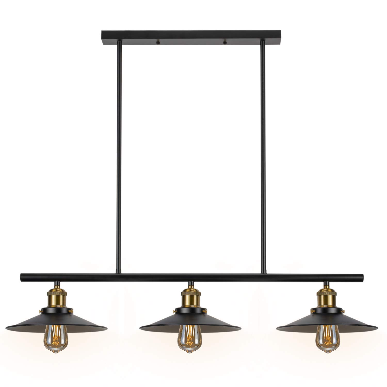3-Light Kitchen Island Pendant Lights Vintage Modern Industrial Chandelier, Matte Black Finish, Hanging Light Fixture for Dining Room, Breakfast bar, Pool Table (3-Light)
