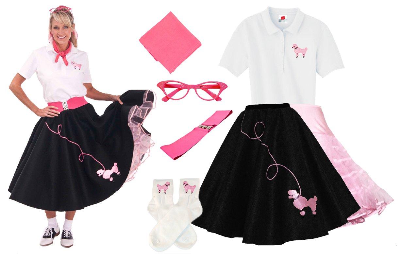 Hip Hop 50s Shop Adult 7 Piece Poodle Skirt Costume Set Black and Pink XLarge by Hip Hop 50s Shop (Image #2)
