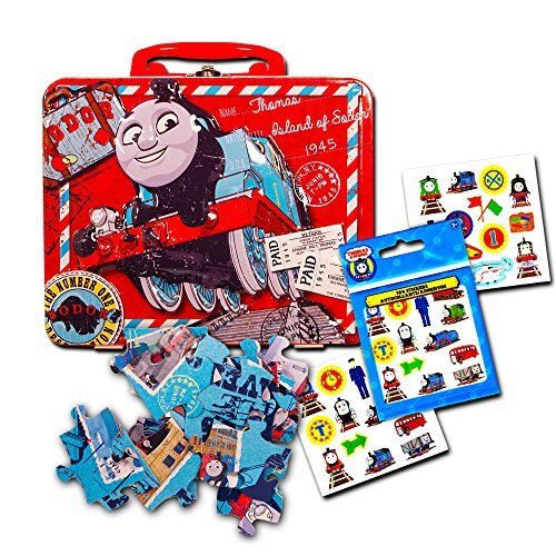 Thomas the Train Lunch Box Set Toddlers Kids -- Deluxe Thomas Lunch Tin with Puzzle and Stickers (Snack Container, Carry Case)