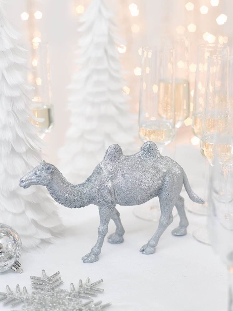 Talking Tables Party Porcelain Silver Camel Table Centerpiece Decoration, Silver
