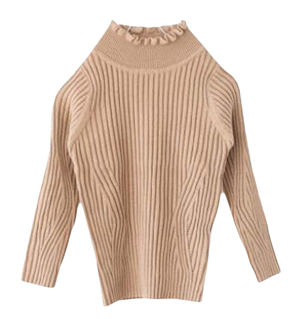 Etecredpow Girl Cute Pullover Stretch Slim Fit Jumper Turtle Neck Sweaters