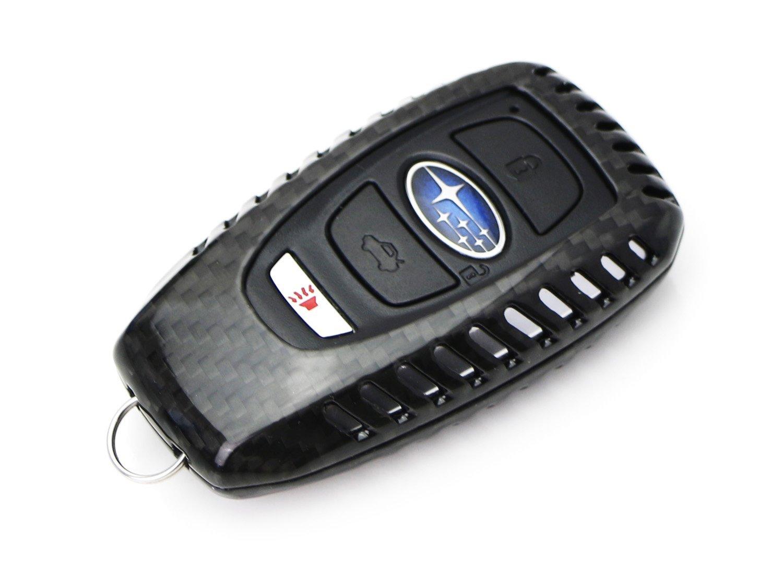 iJDMTOY Outback 1 2015-up Subaru Legacy Real Carbon Fiber Gloss Black Key Fob Protective Cover Case For 2013-up Subaru BRZ XV Crosstrek 2016-up WRX or STi etc 2017-up Forester Impreza