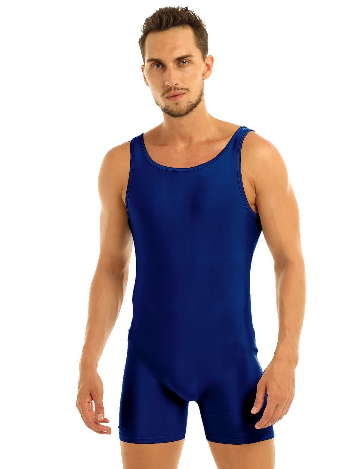 IEFIEL Mens Sleeveless Stretchy One Piece Bodysuit Sport Gym Workout Dancewear Biketard Tank Unitard Navy Blue X-Large by iEFiEL