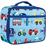 Wildkin Lunch Box, Insulated, Moisture Resistant, & Easy Clean with Extras for Quick & Simple Organization, Ages 3+, Perfect for Kids or On-The-Go Parents, Olive Kids Design, Trains, Planes & Trucks