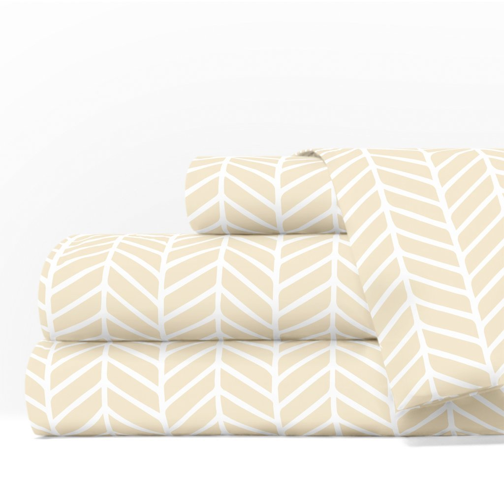 Egyptian Luxury 1600 Series Hotel Collection Herringbone Pattern Bed Sheet Set - Deep Pockets, Wrinkle and Fade Resistant, Hypoallergenic Sheet and Pillowcase Set - King - Cream/White