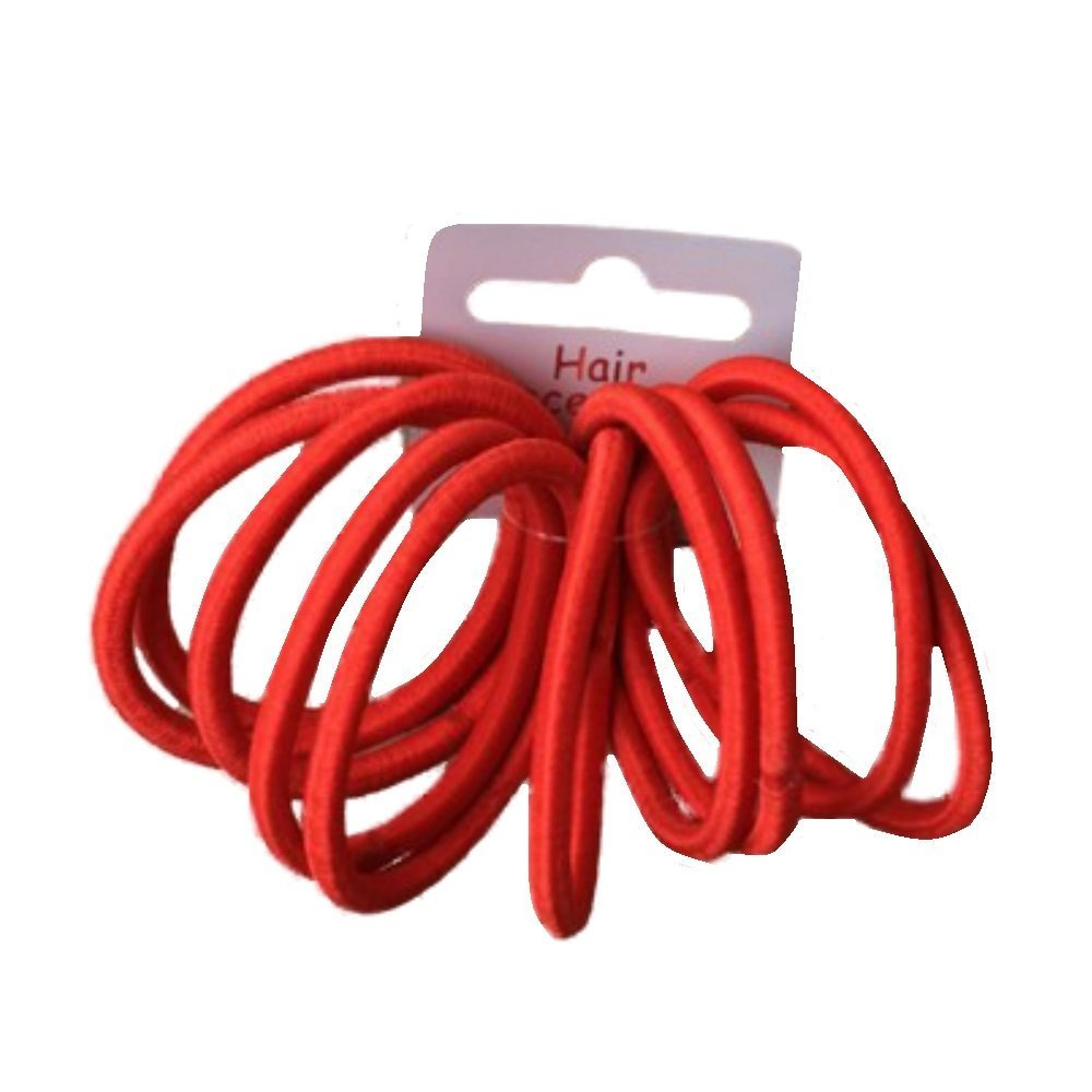 Set of 10 Red Thick Snag Free Endless Hair Elastics Bobbles Hair Bands Pritties Accessories PRH03063