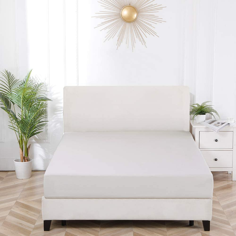 Snug Fit,Wrinkle Free Full Size Beige Resistant Microfiber Bourina Fitted Sheet Quality 1-Piece