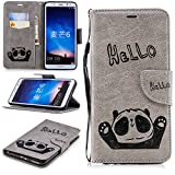 Misteem Cartoon Case LG K8 2018, Cute Retro Panda Pattern Leather Cases Flip Shockproof Card Holder Bookstyle/Stand / Magnetic Wallet Cover Protector LG K8 2018 - Panda Grey
