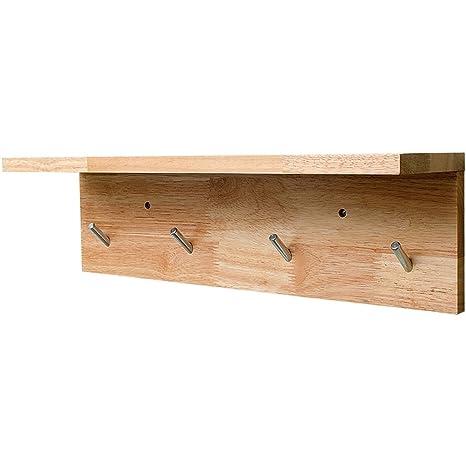 Amazon.com: Perchero de pared de madera maciza con ...