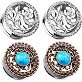 Zaya Body Jewelry 2 Pairs of Double Flared Surgical Steel Vines Flower and Antique Bronze Plated Turquoise Gauges Ear Plugs 2g 0g 00g 1/2 (0g 8mm)