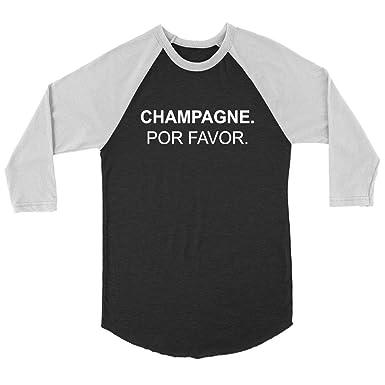 94ad73649b34d Amazon.com  NERKY TEE Champagne PO Favor - Unisex 3 4 Sleeve Raglan T-Shirt   Clothing