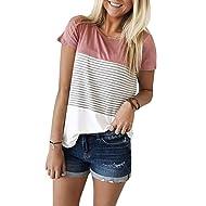 8a6dfec0ab Women s Summer Short Sleeve Striped Junior Blouse Casual Tops T-Shirt