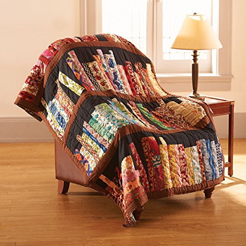 Library Books Quilted Throw Blanket - 100% Cotton