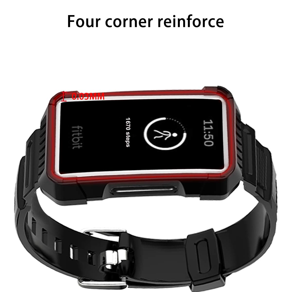 Haojavo Compatible with Fitbit Charge 3 Band with Case TPU Integration Case Strap Breathable Replacement Bands for Fitbit Charge 3//Charge 3 SE Smartwatch Accessories