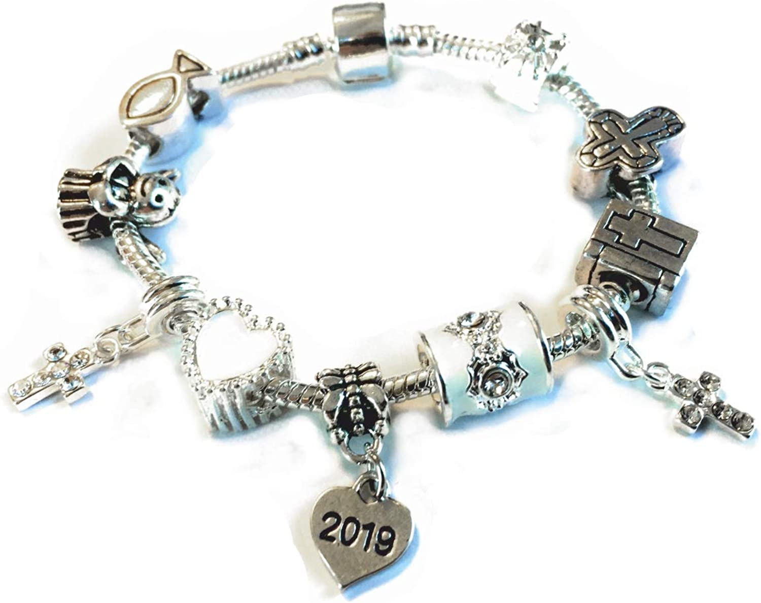 Girls Silver Confirmation//First Holy Communion Charm Bracelet Gift Set