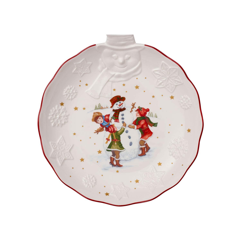 Bianco//Multicolore 26 x 24.5 x 4.4 cm Villeroy /& Boch Toy/'s Fantasy Ciotola con Rilievo Pupazzo di Neve