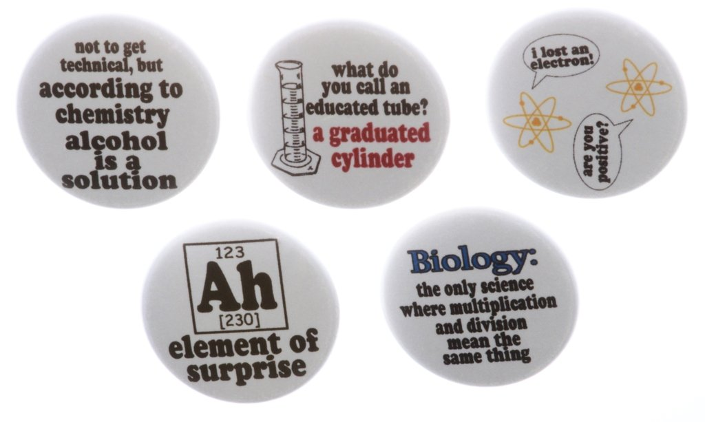 Set of 5 Science Funny Humor Magnets Biology Chemistry Atoms Ah