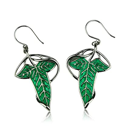 e9700d2f678fa the Lord of the Rings Earrings Elven Green Leaf Earrings