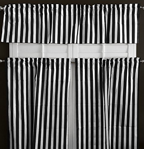 (lovemyfabric Cotton Blend Striped Print 3 Piece Kitchen Curtain Tier/Valance Window Treatment Set (Black & white))